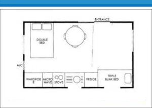 Deluxe Holiday Cabins 1 and 3 at Arno Bay Caravan Park. Please note this floor plan is indicative only and there may be variations in layout.