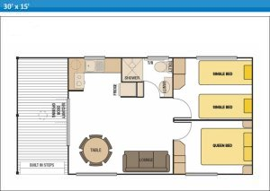 Deluxe Ensuite Holiday Cabins 10 and 11 at Arno Bay Caravan Park. Please note this floor plan is indicative only and there may be variations in layout.
