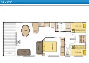 Beach Front 3 Bedroom Deluxe Sunrise Villas 1 and 2 at Arno Bay Caravan Park. Please note this floor plan is indicative only and there may be variations in layout.