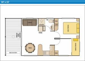 Deluxe Ensuite Holiday Cabin 8 at Arno Bay Caravan Park. Please note this floor plan is indicative only and there may be variations in layout.