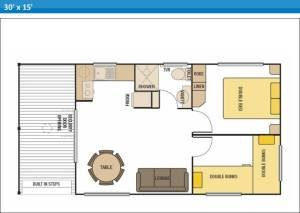Deluxe Ensuite Holiday Cabin 9 at Arno Bay Caravan Park. Please note this floor plan is indicative only and there may be variations in layout.