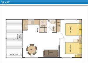 Deluxe Ensuite Holiday Cabins Cabins 4 and 5 at Arno Bay Caravan Park. Please note this floor plan is indicative only and there may be variations in layout.
