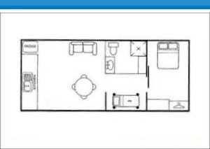 Holiday Cabin 6 at Arno Bay Caravan Park. Please note this floor plan is indicative only and there may be variations in layout.