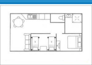 Holiday Cabin 7 with ensuite at Arno Bay Caravan Park. Please note this floor plan is indicative only and there may be variations in layout.