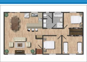 Ensuite House at Arno Bay Caravan Park. Please note this floor plan is indicative only and there may be variations in layout.