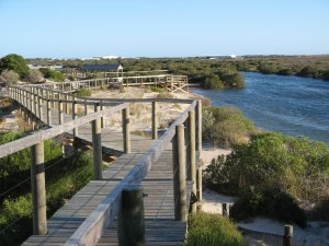 View from the 700 metre long board walk over the creek and tidal area at Arno Bay.