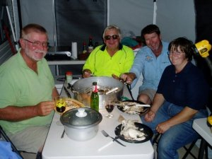 Steve and guests enjoy a freshly caught and cooked seafood feast!